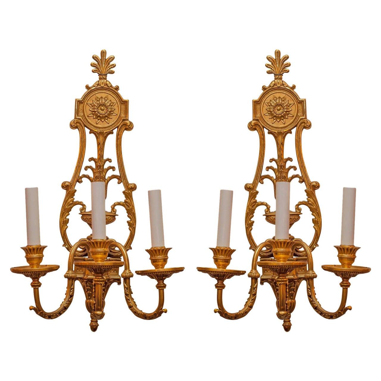 Pair of Gilt Bronze Louis XVI Style Three-Arm Wall Light Sconces