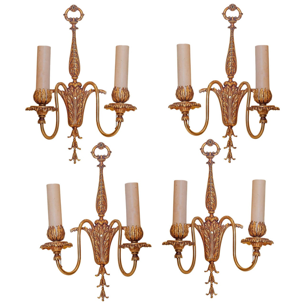 Set of Four Louis XVI Style Gilt Bronze Two-Arm Wall Light Sconces