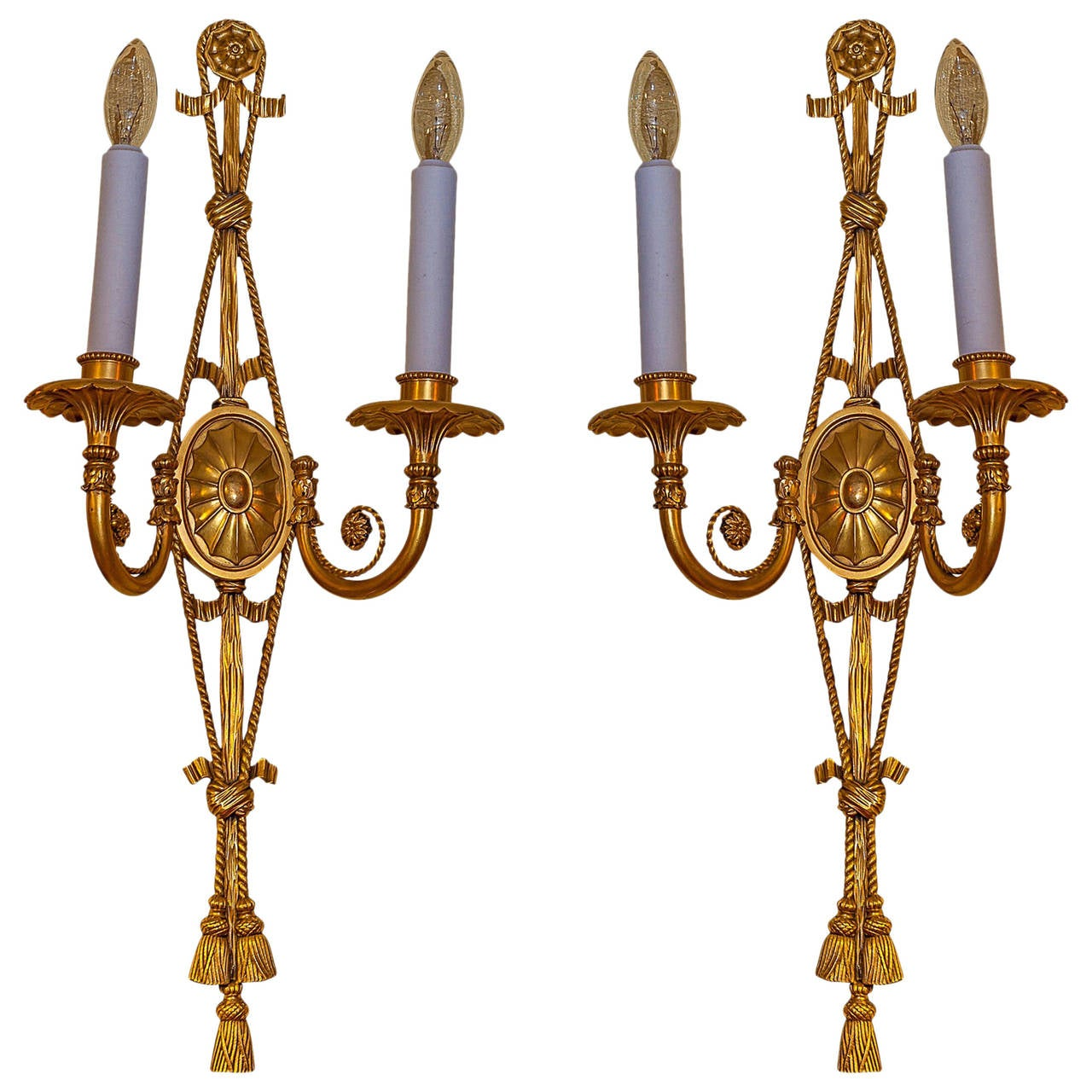 Pair of Adam Style Gilt Bronze Two-Arm Wall Light Sconces For Sale at 1stdibs