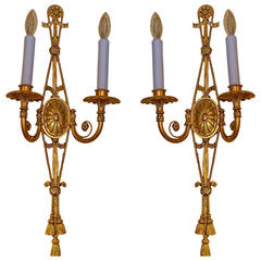 Pair of Adam Style Gilt Bronze Two-Arm Wall Light Sconces