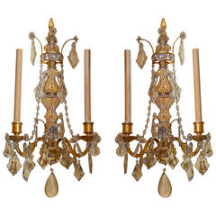 Pair of Two-Arm Crystal and Bronze Wall Light Sconces Attributed to caldwell