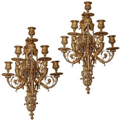 Pair of Gilt Bronze Figural Louis XVI Style Wall Light Sconces