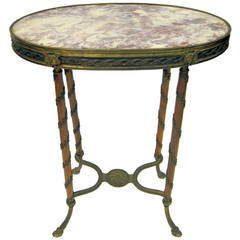 Fine Louis XVI Style Bronze-Mounted Oval Side Table