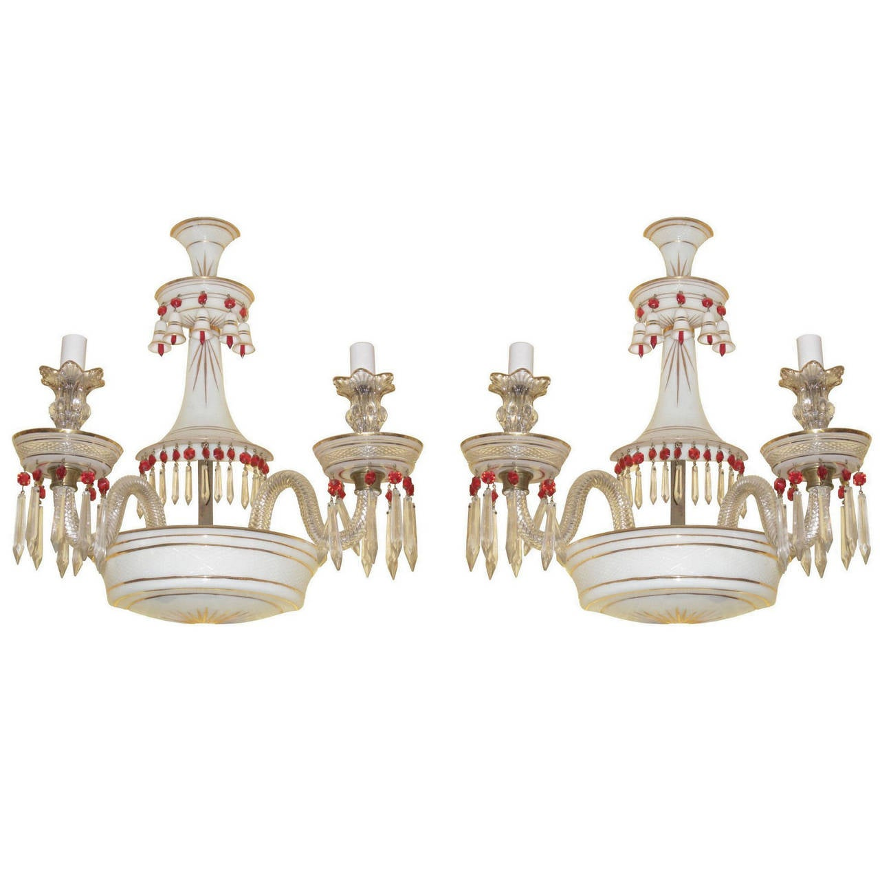 Pair of White Opaline Glass Two-Arm Wall Light Sconces