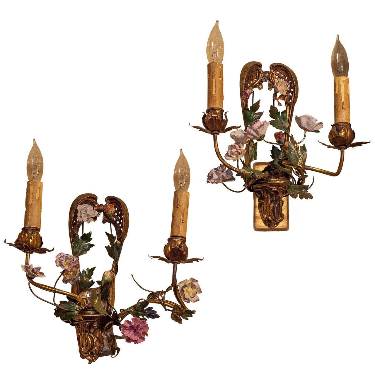 Pair of Bronze and Porcelain Two-Arm Wall Light Sconces at 1stdibs