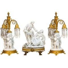 Three Piece Sevres Bisque And Bronze Garniture Set