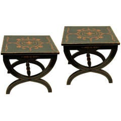 Pair Of Neoclassical Style Painted  Benches