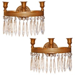 Pair of Antique French Empire Style Bronze and Crystal Wall Sconces