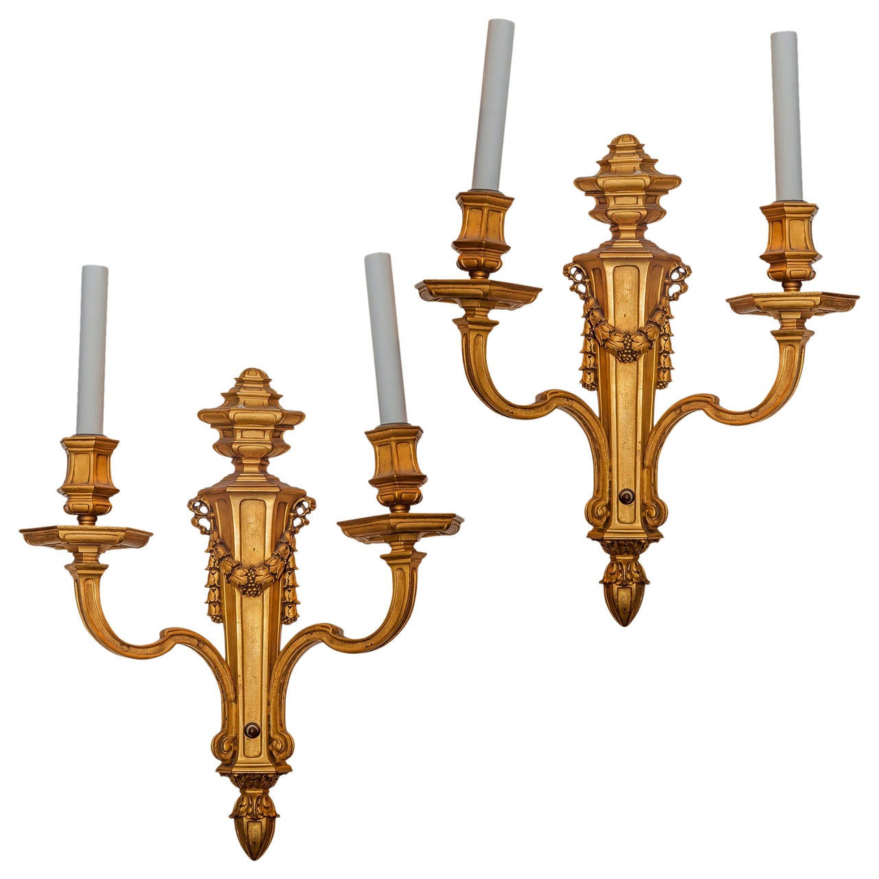 set of four  Gilt metal Two-Arm Wall Sconces by Caldwell & Co. For Sale