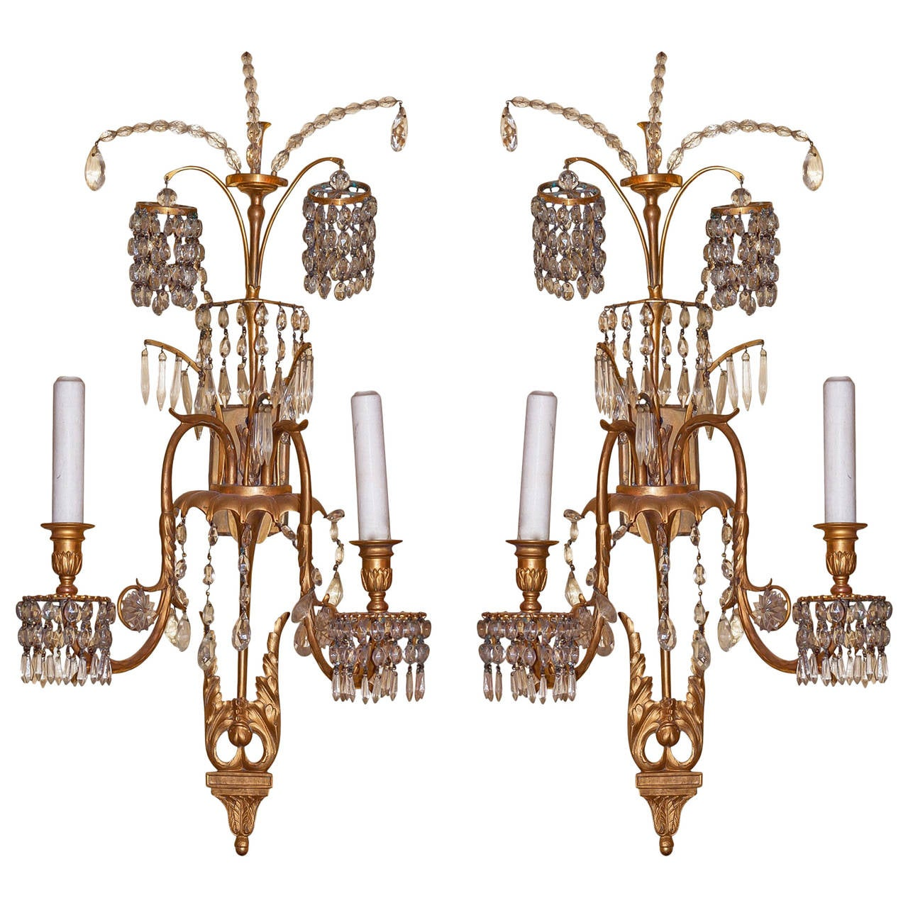 Pair of Baltic or Russian Crystal and Bronze Two-Arm Wall Sconces