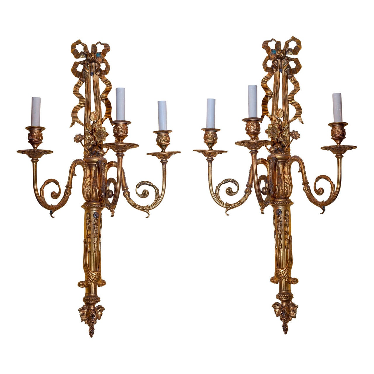 Pair of Gilt Bronze Three-Arm Louis XVI Style Wall Sconces For Sale