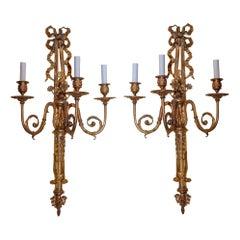 Pair of Gilt Bronze Three-Arm Louis XVI Style Wall Sconces