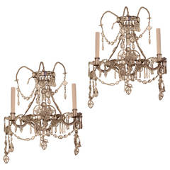 Pair of Venetian Style Crystal and Silvered Metal Wall Light Sconces