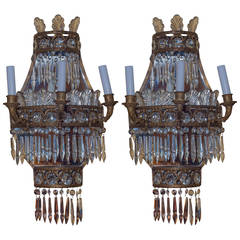 Pair of Cascade Form Gilt Bronze and Crystal Wall Light Sconces