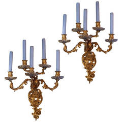 Pair of Antiques French Five-Arm Gilt Bronze and Crystal Wall Light Sconces