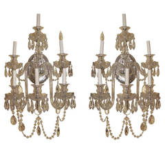 Pair of Cut Glass English Style Two-Tier Six-Arm Wall Light Sconces