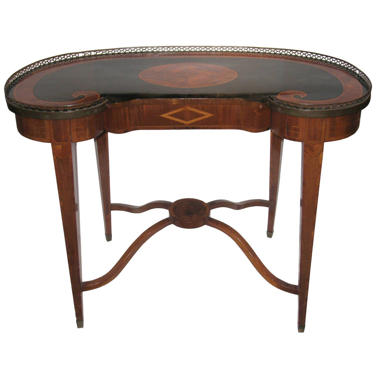 Very Impressive portraiture of Antique Russian Style Inlaid Kidney Shaped Writing Desk at 1stdibs with #663C2C color and 1280x1280 pixels