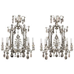 Pair of Rock Crystal and Gilt Metal Silvered Cage Form Eight-Light Chandeliers
