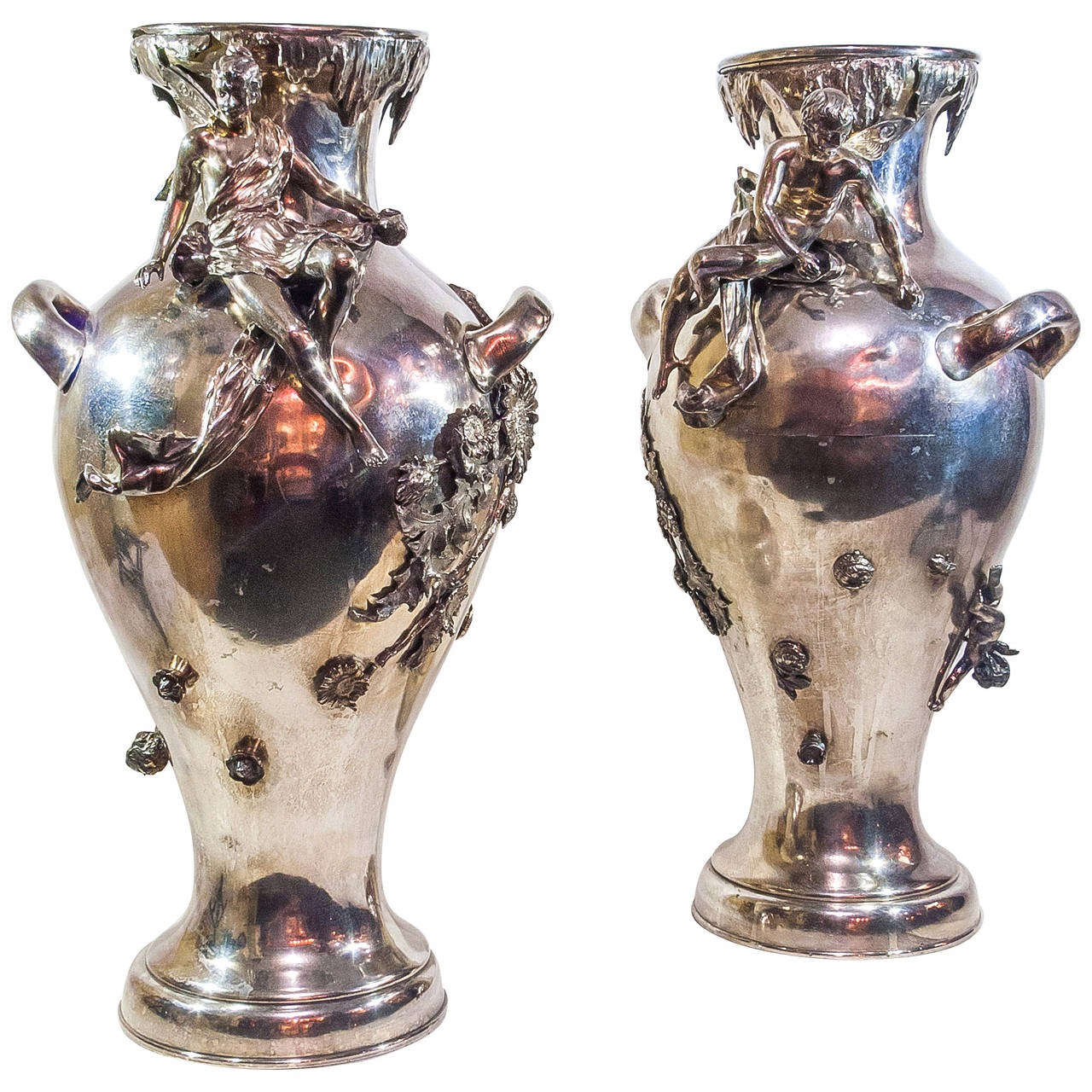 Silver Vases Pair Of Silver Plated Art Nouveau Figural Flower Vases For Sale At