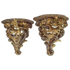 Pair of Carved Venetian Painted Wall Brackets