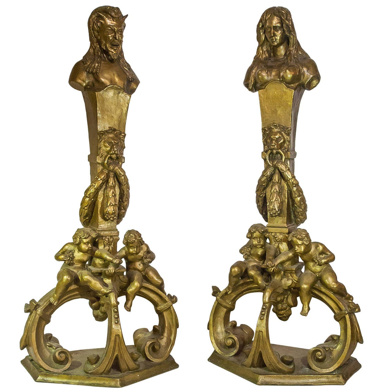 pair of bronze figural art nouveau fireplace chenet andirons for