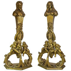 Pair of Bronze Figural Art Nouveau Fireplace Chenet Andirons