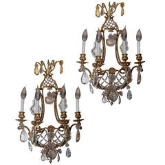 Pair of Bronze and Crystal Four-Arm Basket Form Wall Light Sconces