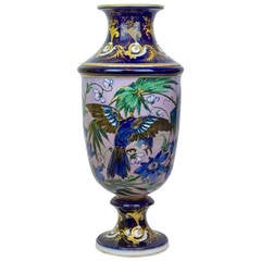 Large Aesthetic Porcelain Vase with Floral and Bird Decorations