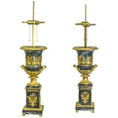 Important Pair of Neoclassical Empire Style Marble and Bronze Table Lamps