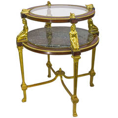 Egyptian Revival Gilt Bronze Figural Two-Tier Marble and Glass Table