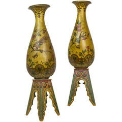 Large Pair of Pottery Porcelain Vases on Pedestals with Bird and Floral Work