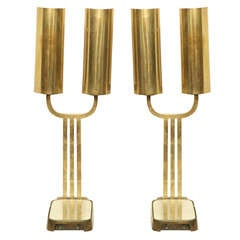 Pair of unusual mid century bronze table lamps