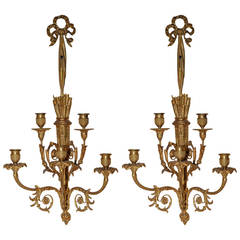 Pair of Louis XVI Style Gilt Bronze Two-Tier Wall Lights