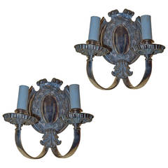 Pair of Two-Light Silver Plated Wall Light Sconces