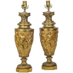 Pair of Gilt Bronze Neoclassical Figural Lamps