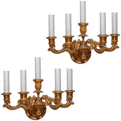 Pair of Empire Style Five-Arm Gilt Bronze Wall Light Sconces