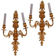 Exquisite Pair of Gilt Bronze Louis XVI Style Two-Arm Wall Light Sconces