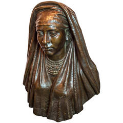 Patinated Bronze Bust of a Gypsy Girl