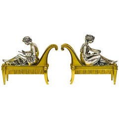 Pair of Neoclassical Gilt and Silvered Bronze Figural Chenets