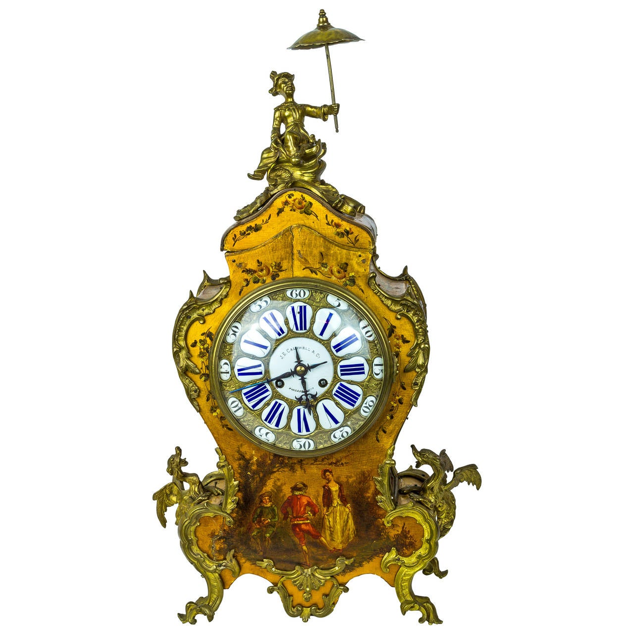 Unusual Chinoiserie Gilt Bronze Figural Mantel Clock By J