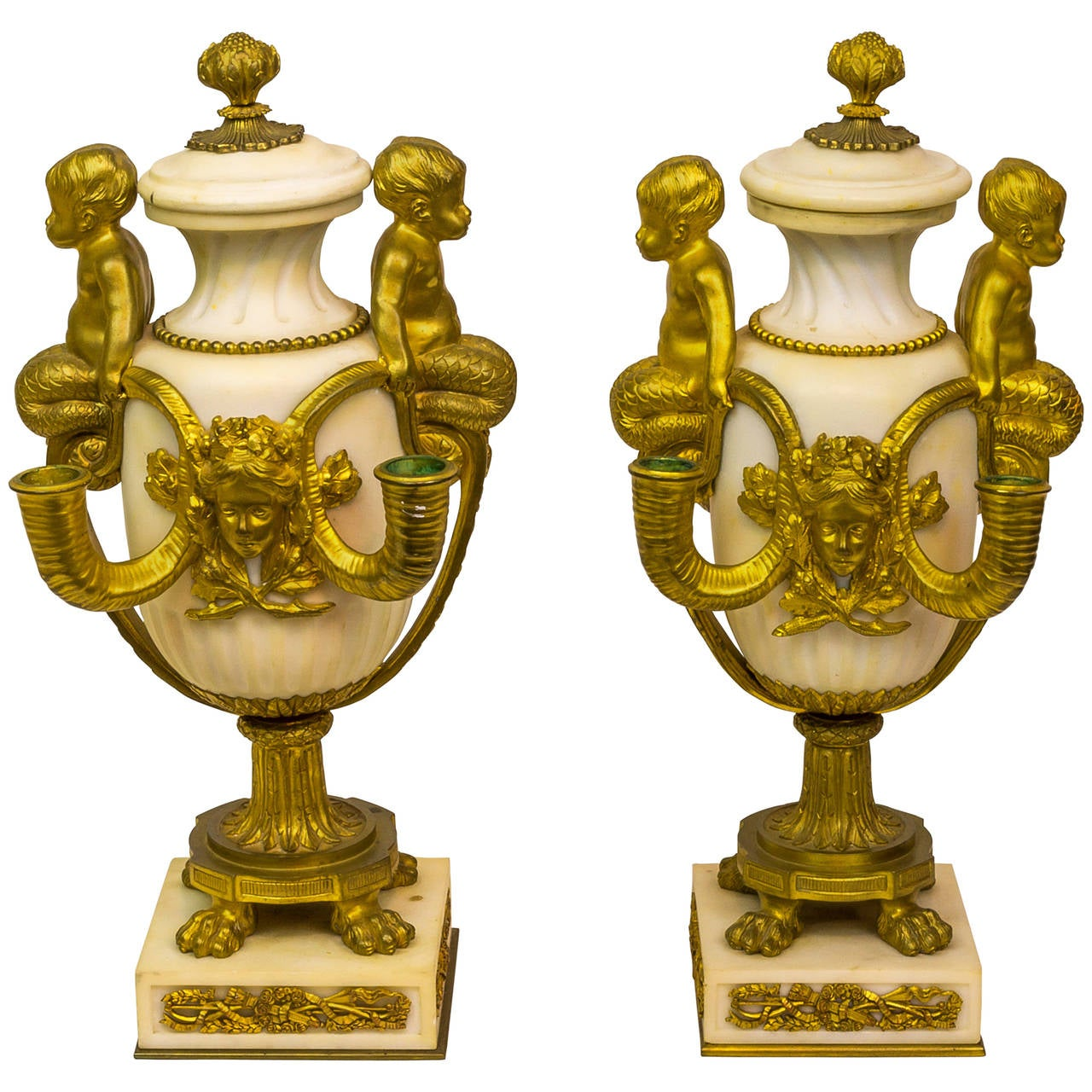 Pair of Louis XV Style Gilt Bronze and Marble Figural Urns