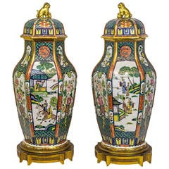 Hexagonal Pair of Porcelain and Bronze Chinoiserie Covered Urns