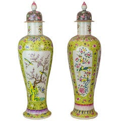 Two Similar Tall Oriental Chinese Porcelain Covered Urns