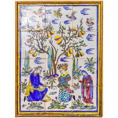 Group of Wall Hanging Tiles with Seated Lovers in Garden