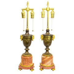 Louis XVI Style Pair of Marble and Bronze Lamps