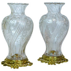 Pair of Baccarat Style Crystal and Bronze Twisted Form Vases