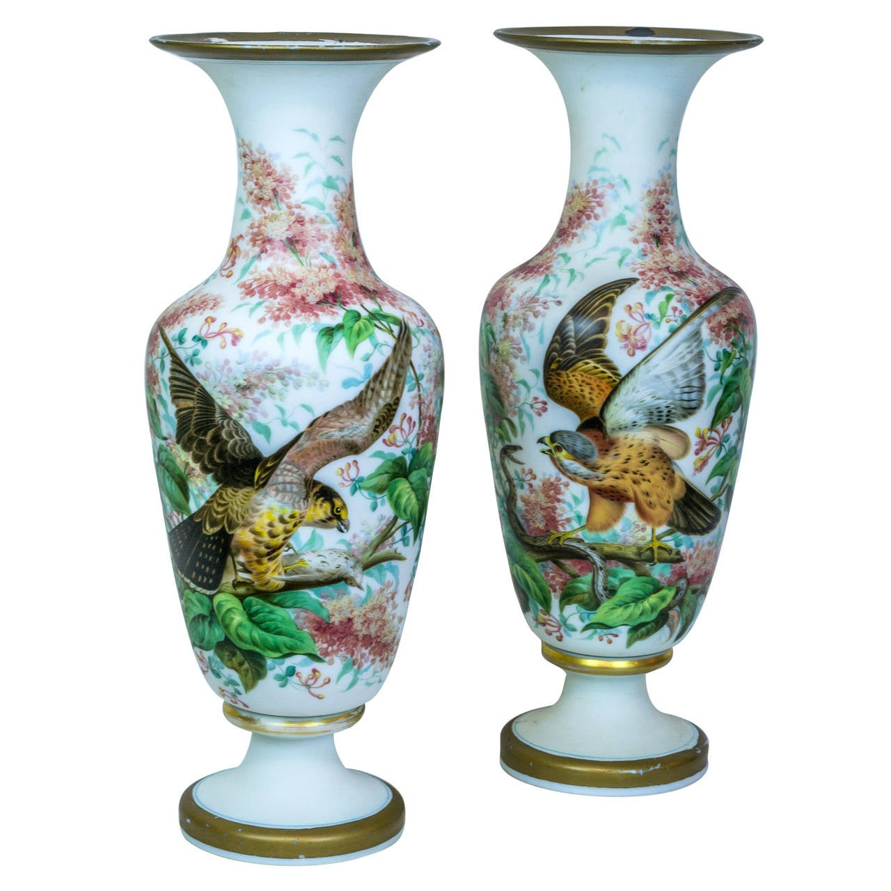 Large pair of tall opaline vases with painted bird and floral large pair of tall opaline vases with painted bird and floral decorations for sale reviewsmspy
