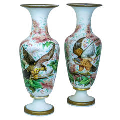 Large Pair of Tall Opaline Vases with Painted Bird and Floral Decorations