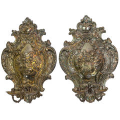 Large Pair of Silver Plated Two-Arm Wall Light Sconces