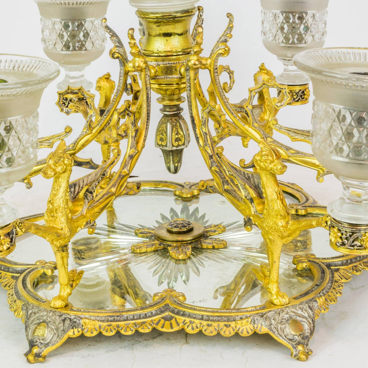 Crystal and bronze mirrored centerpiece with attached
